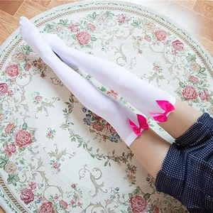 Accessories - White Thigh-High Stockings w/Pink Bows